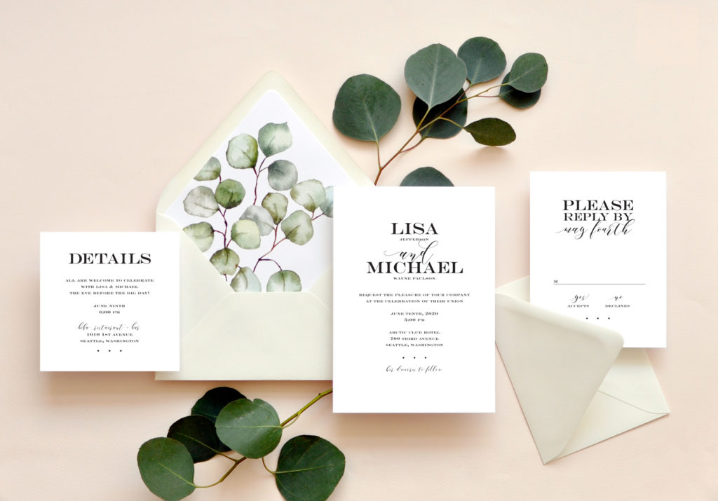 A beautiful and contemporary text setting of caps and calligraphy pairs beautifully with a botanical envelope lliner of sage greenery.
