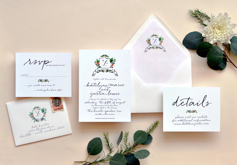 Watercolor Crest Wedding Invitation