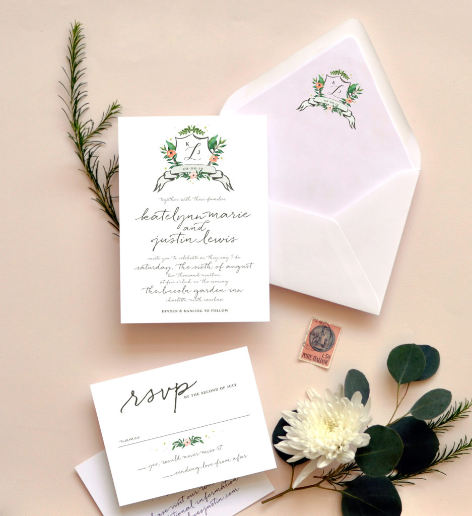 Watercolor Crest Wedding Invitation • Staccato