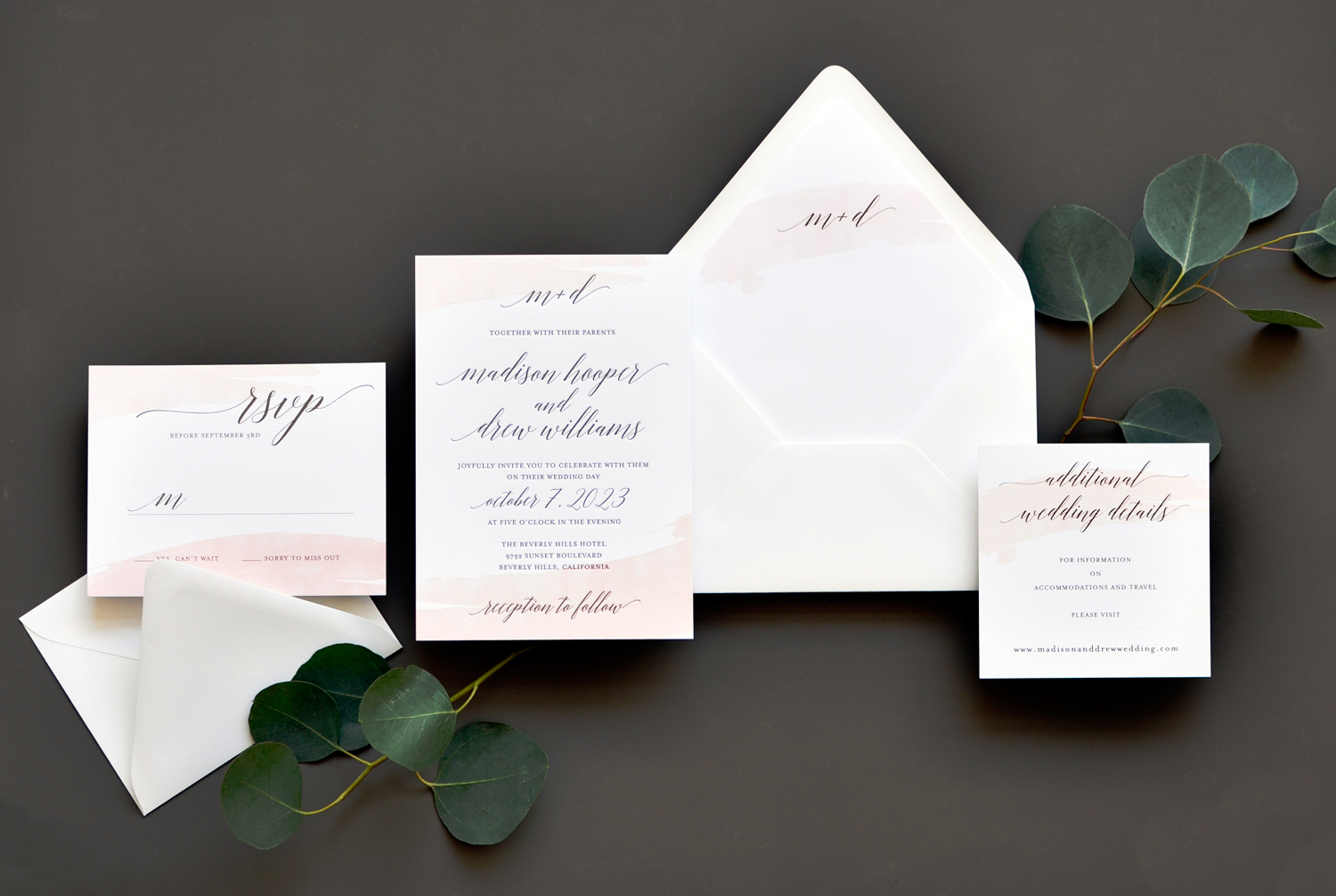 Watercolor Swash Wedding Invitation