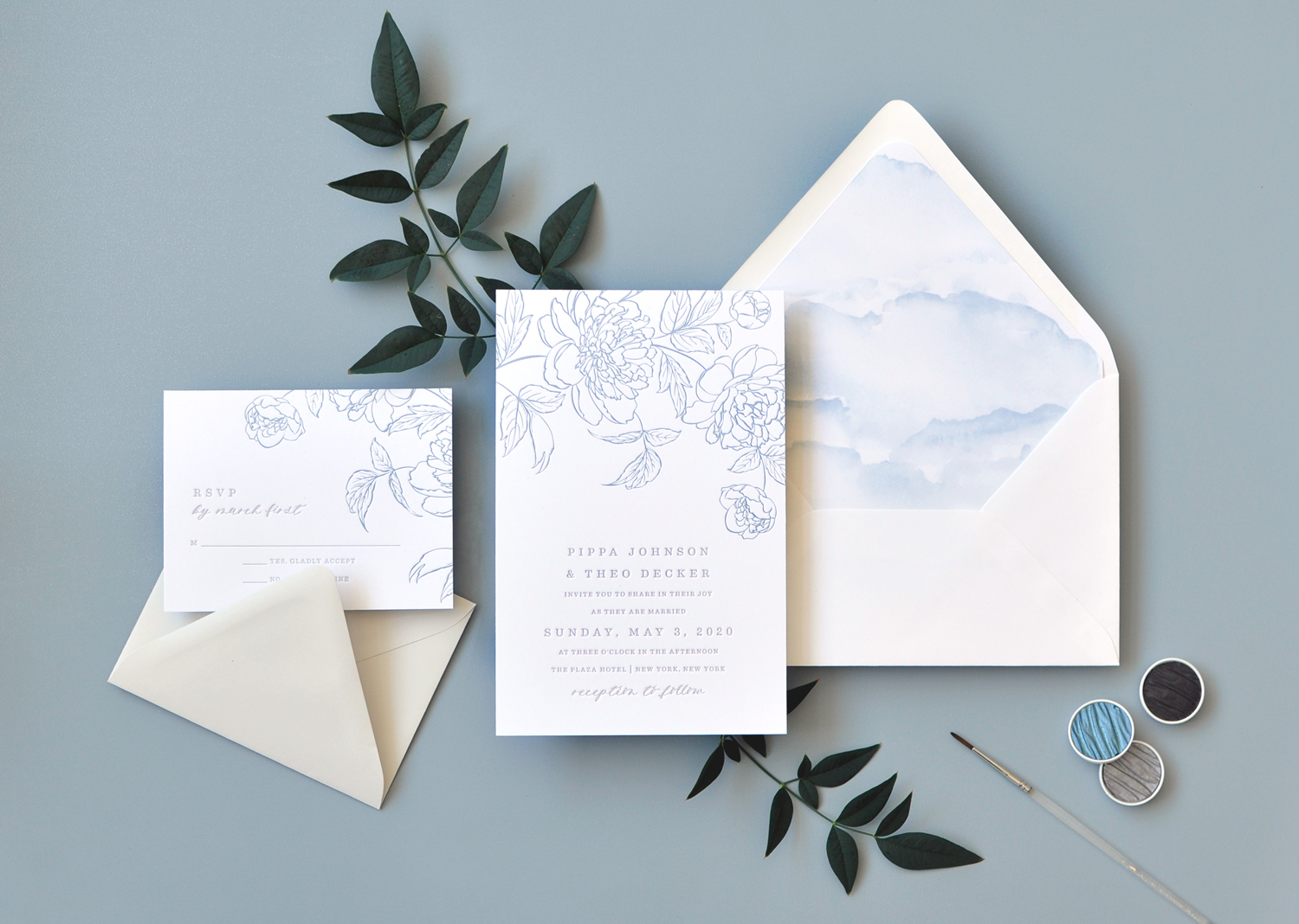 2-color letterpress wedding invitation features a beautiful floral sketch on the top, and contemporary text setting.