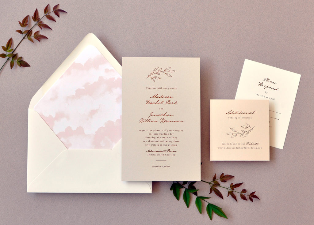 Mist colored card features rose gold foil invitation in contemporary script.  Serving DC, Maryland, Virginia, and Nationwide.
