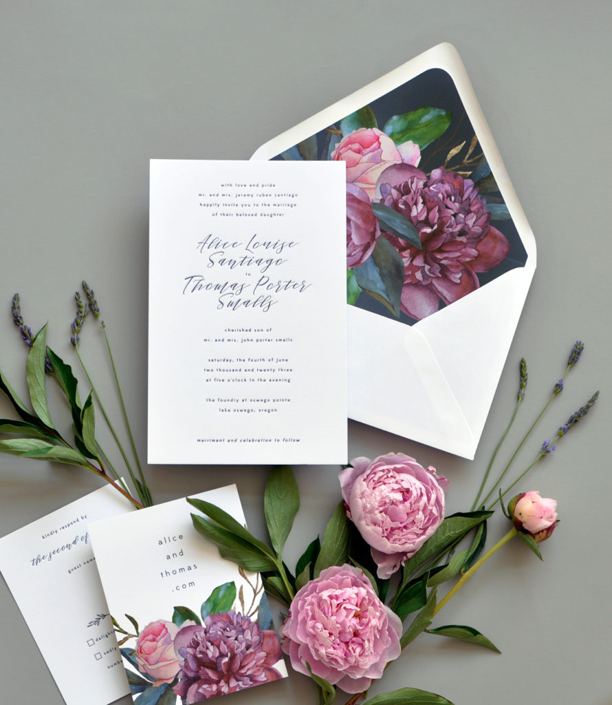 Beautiful letterpress wedding invitation is embellished by  beautiful botanical art in dramatic jewel tone colors.  Staccato serves Fairfax Virginia, Maryland, Washington DC and Nationwide.