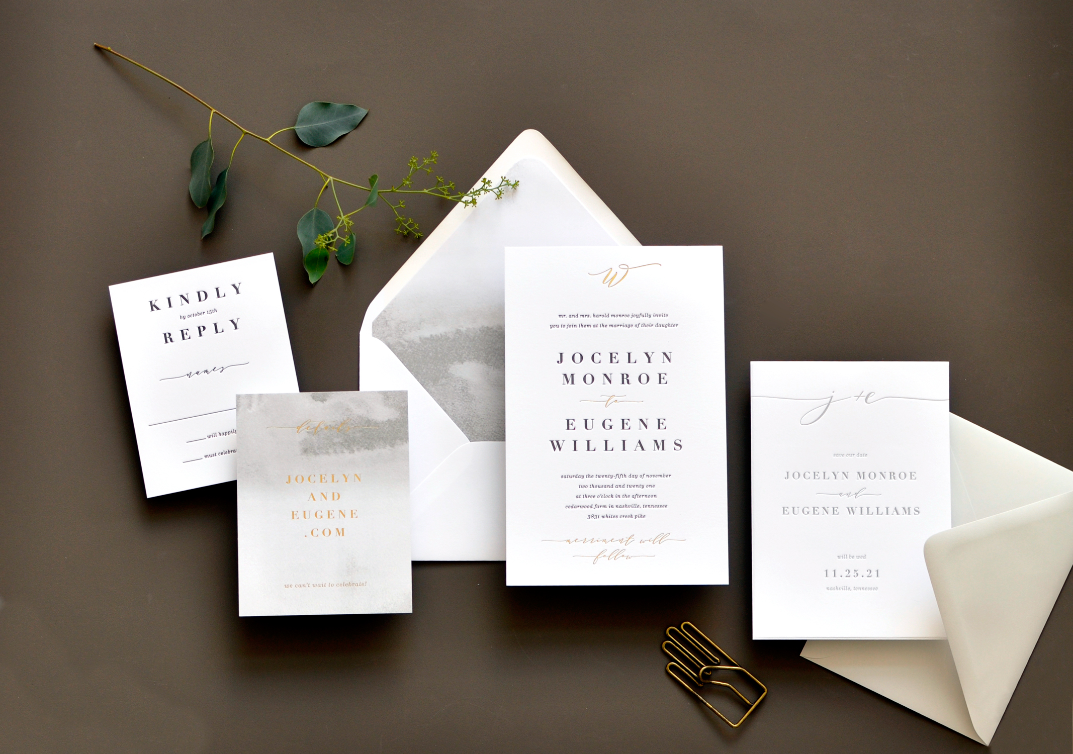 Contemporary text setting with a modern monogram are the highlights of this stunning letterpress and foil invitation available at Staccato. The watercolor washed envelope liner is the perfect accompaniment!