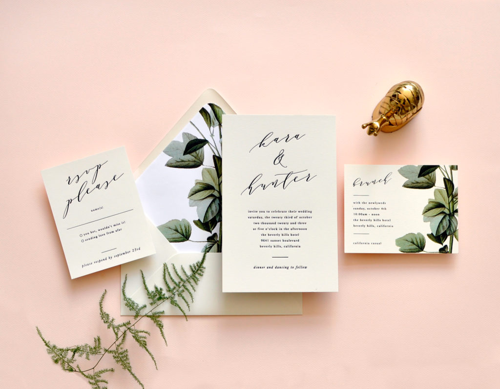 A contemporary script for the couple's names is paired with contemporary lowercase lettering for the rest of this unique letterpress wedding invitation.  Paired with a botanical envelope liner.  Staccato serves Virginia, Maryland, Washington DC, and Nationwide.