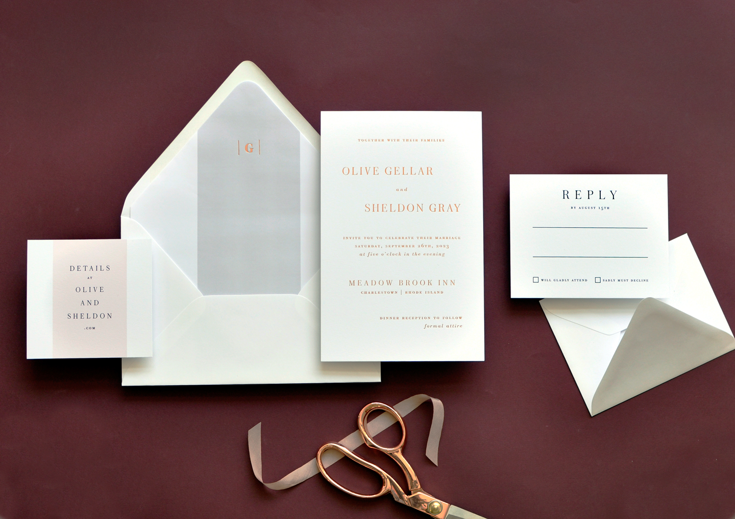 Rose gold foil contemporary wedding invitation is clean and crisp. Staccato serves engaged couples from Virginia, Maryland, Washington DC, and nationwide.