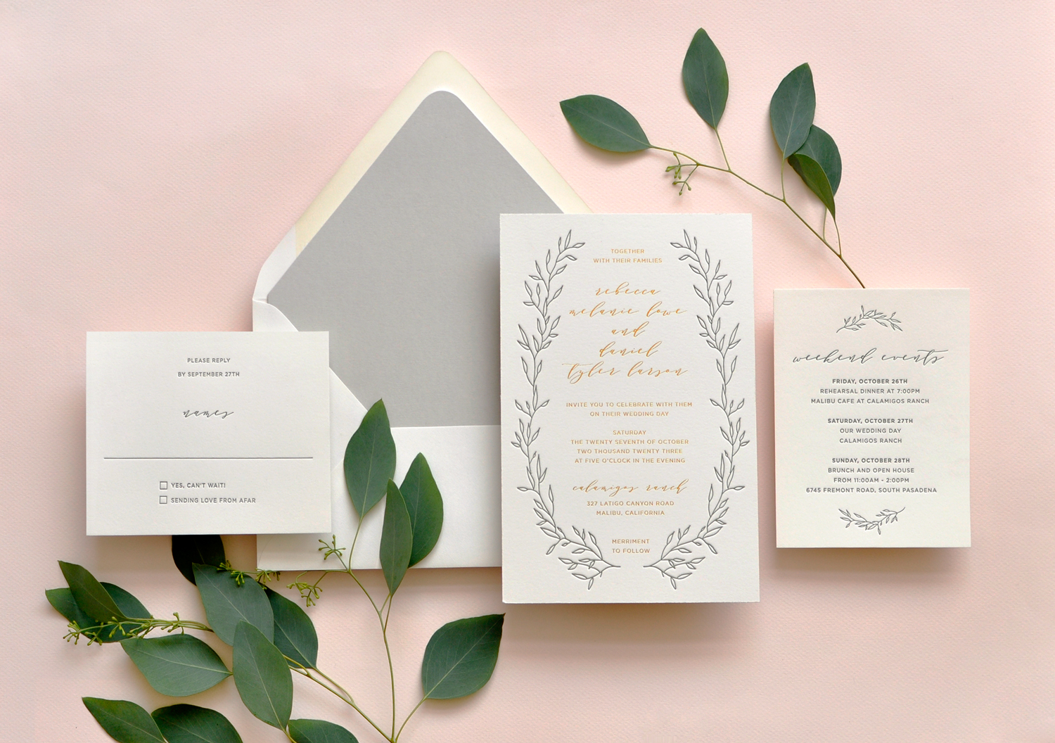 Beautiful branches envelope the contemporary text