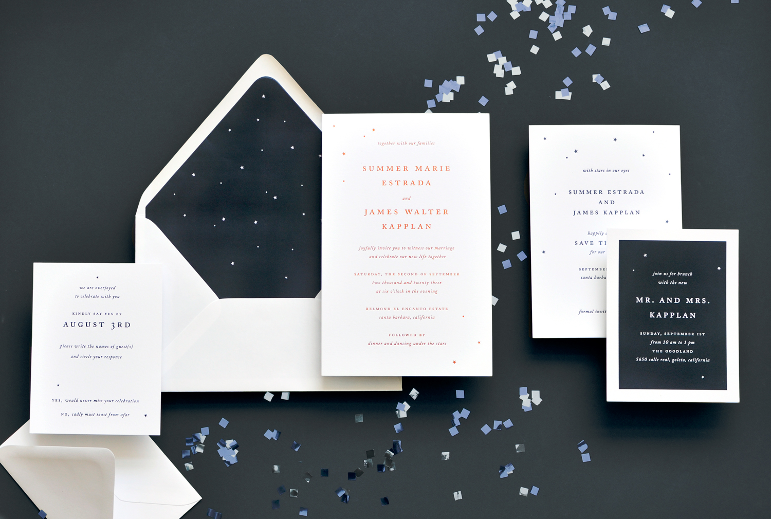 Gold star confetti gently graces the corners and envelope liner of this contemporary wedding invitation. Staccato serves engaged couples in Virginia, Maryland, Washington DC, and nationwide.