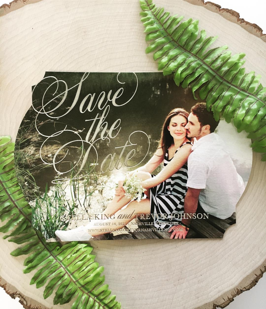 Your beautiful photo is the background of this stunning die-cut & foil stamped save the date card.