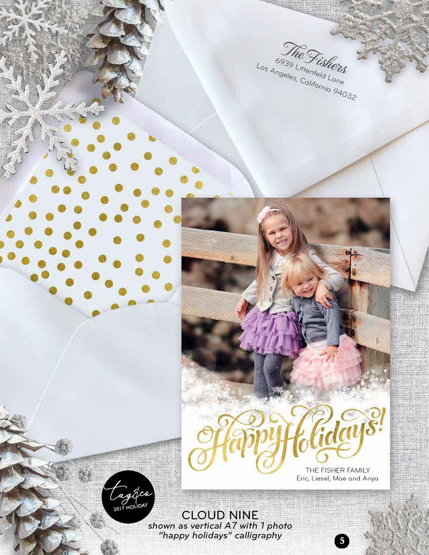 Cloud Nine Happy Holidays Holiday Photo Card from Staccato