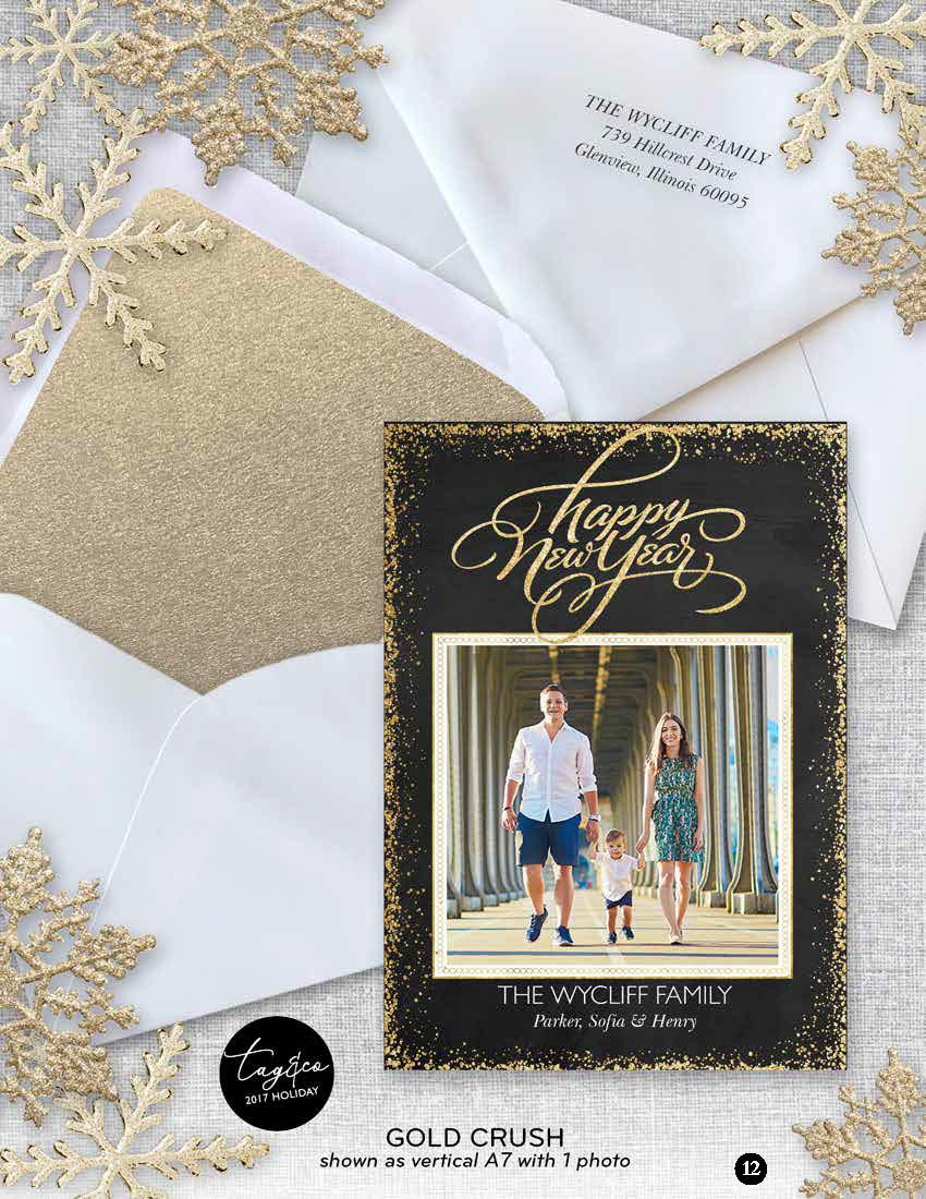 Gold Crush Holiday Photo Card from Staccato