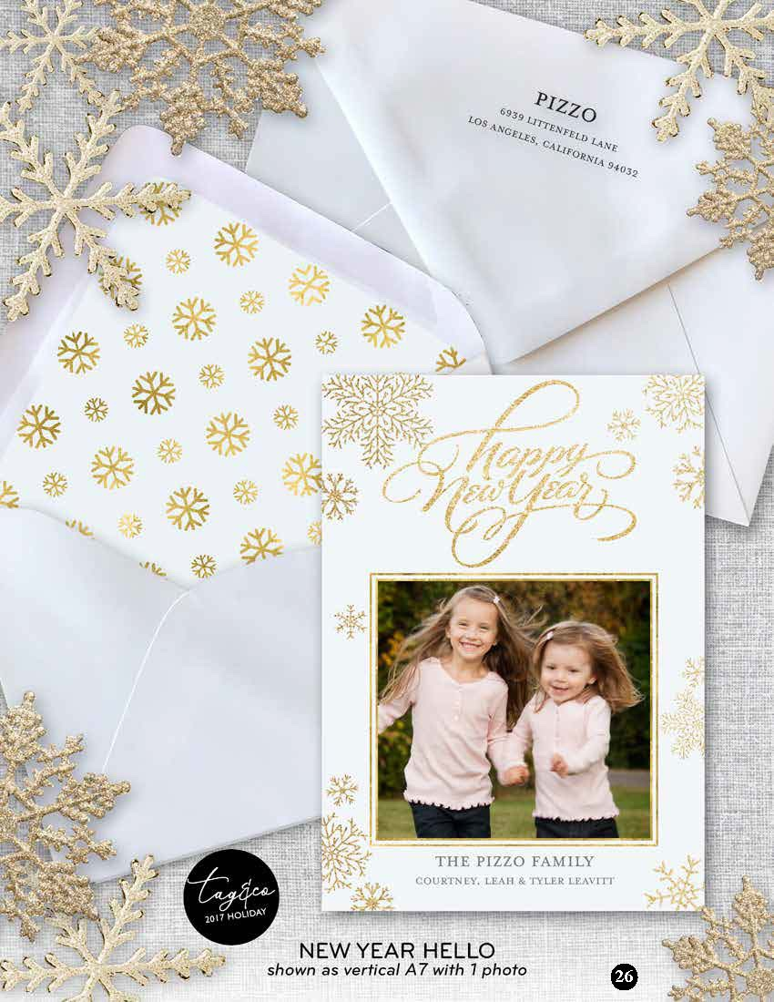 New Year Hello Holiday Photo Card from Staccato