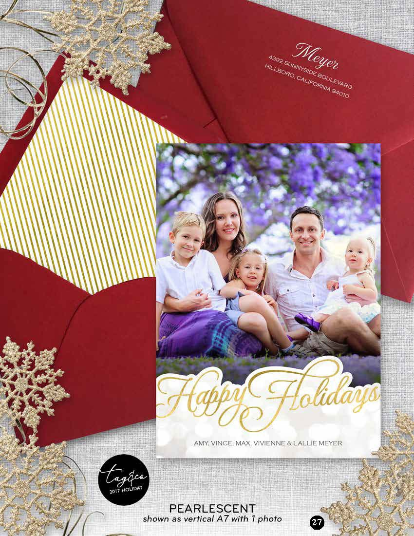 Pearlescent Vertical Holiday Photo Card from Staccato
