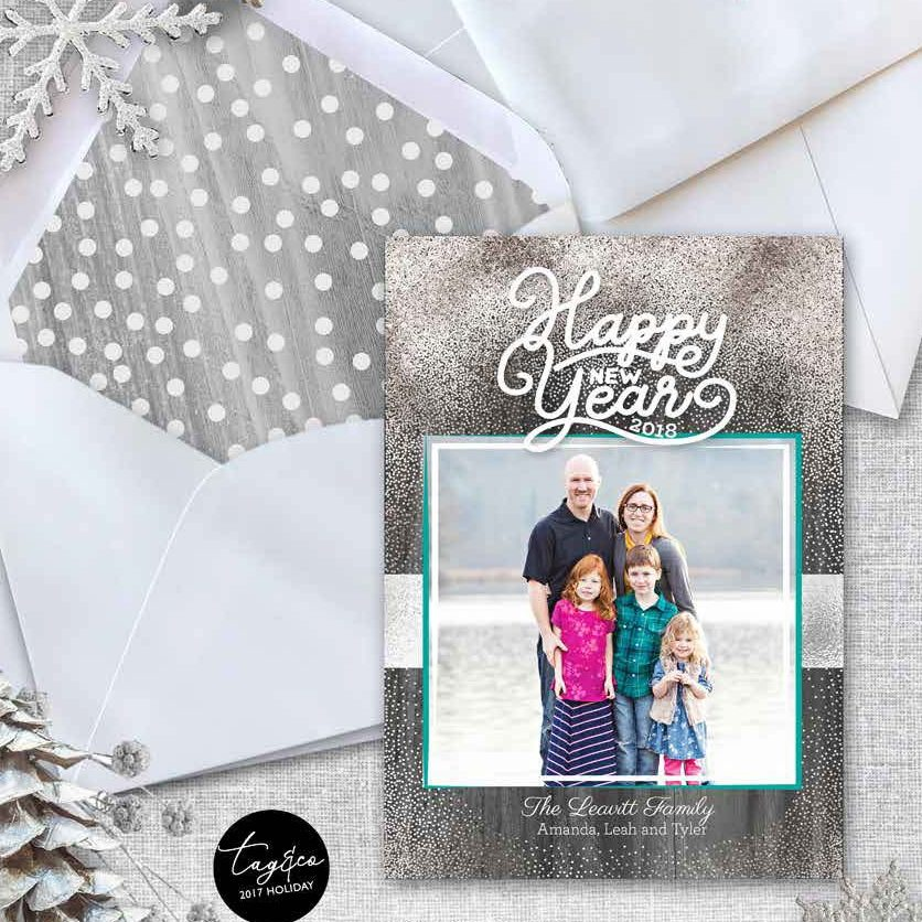 Silver Glam Holiday Photo Card from Staccato