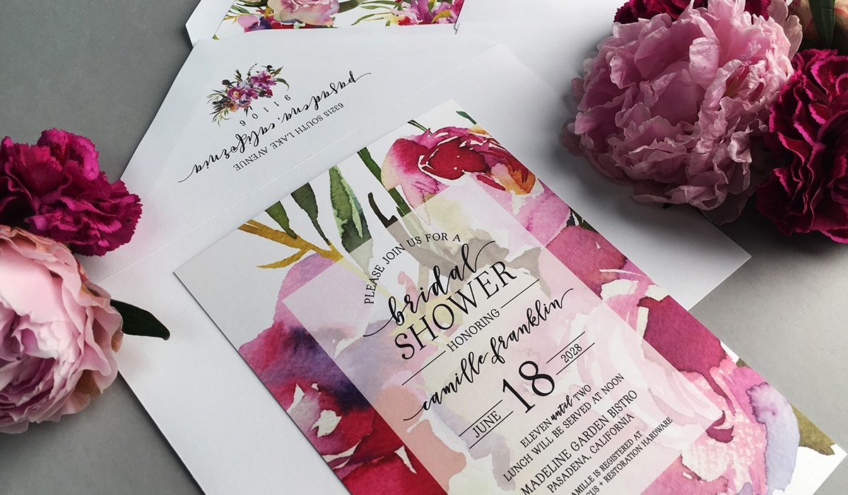 Beautiful June Peony artwork is the background for this faded center bridal shower invitation available at Staccato