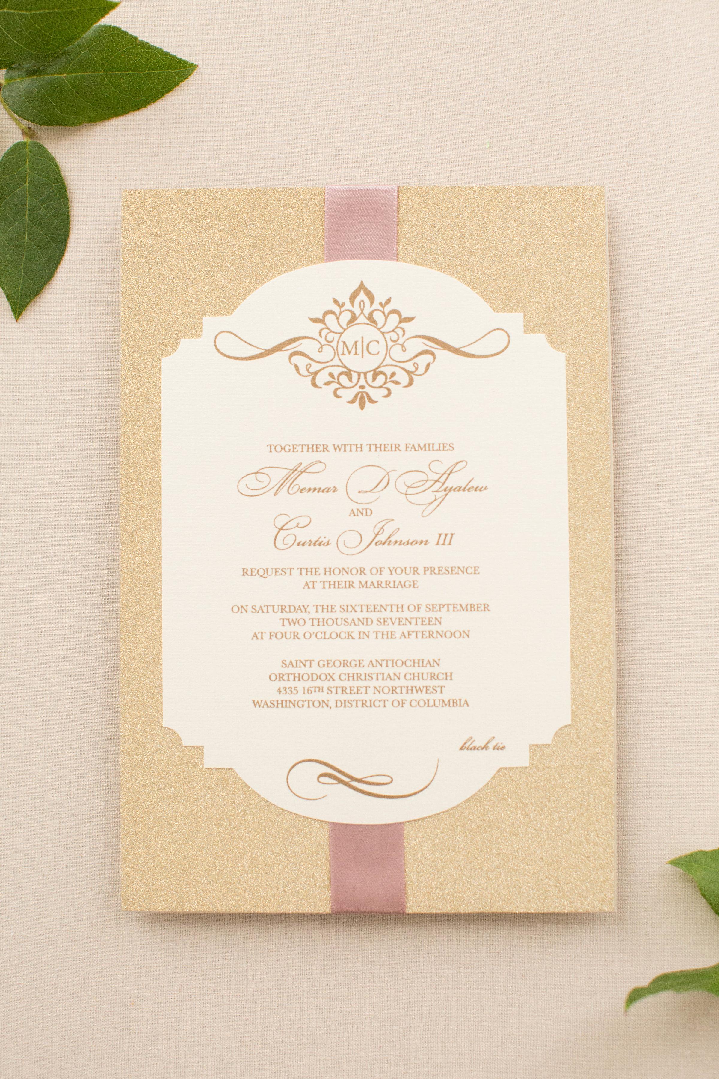 Memar & Curtis\'s Custom Wedding Invitations • Staccato