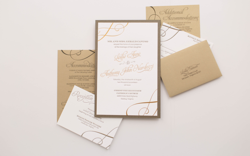 large gold gatefold houses a beautiful olive green layer with gold foil and olive letterpress.