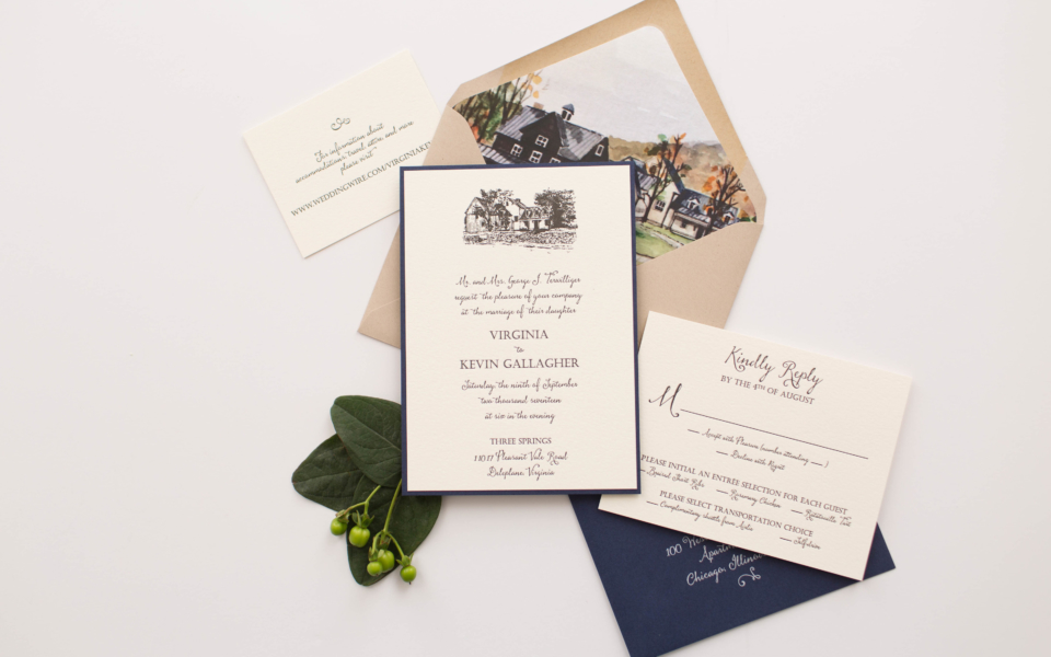 Completely custom invitations started with artwork of family property.  Letterpress, navy, kraft, and a beautiful wooden tag tied with twine.