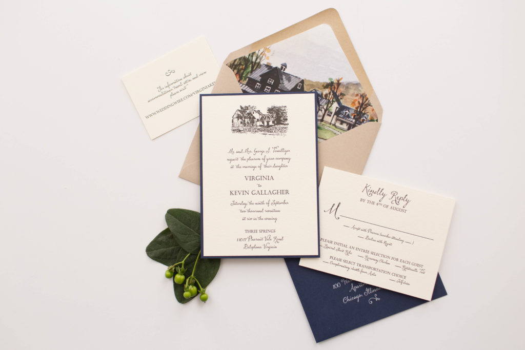custom letterpress wedding invitation by staccato features a unique artwork of family property, navy, and kraft highlights.