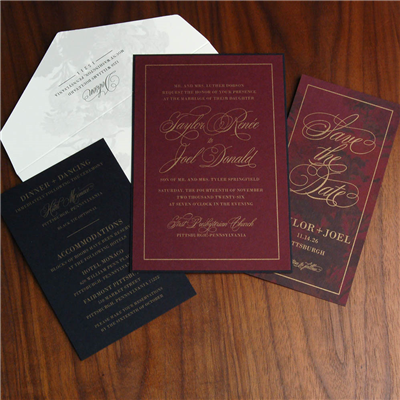 Bold and full of drama, this deep red wedding invitation with black accents and gold foil stamping will set the perfect tone for your black tie event!