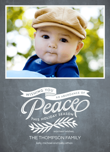 Chalkboard Peace  customized holiday card from Staccato