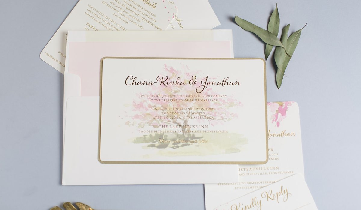 Orchard Wedding Invitation layered to gold metallic.  Gold foil stamping.
