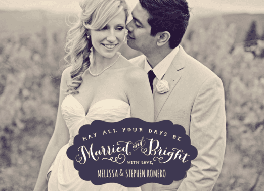 Married & Bright  customized holiday card from Staccato
