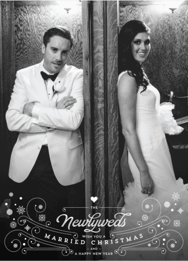 Newlywed Christmas  customized holiday card from Staccato
