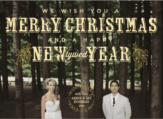 Newlywed year  customized holiday card from Staccato