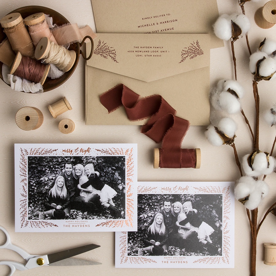 Seasonal Sprigs  customized holiday card from Staccato
