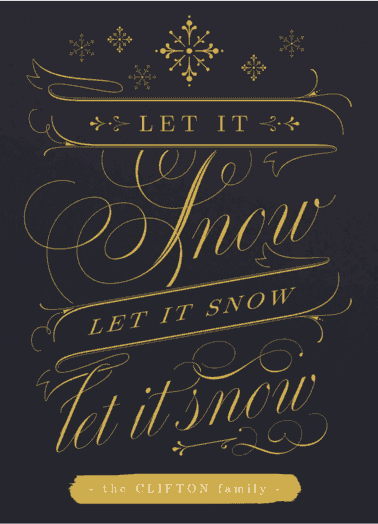 let it snow  customized holiday card from Staccato