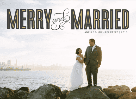 merry & married  customized holiday card from Staccato