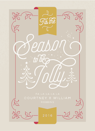 ornate jolly red  customized holiday card from Staccato