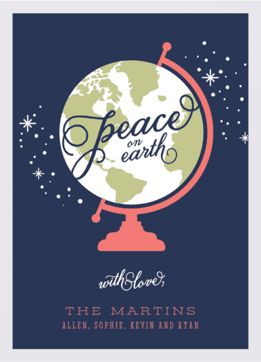 peace globe  customized holiday card from Staccato