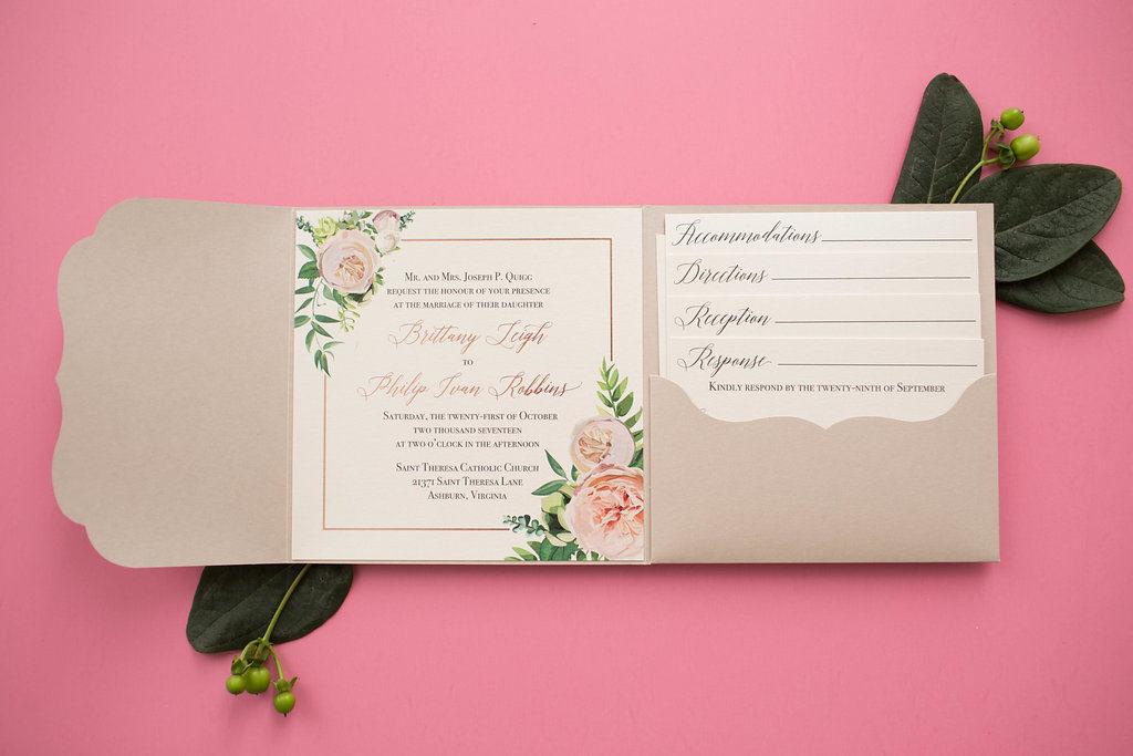 Brittany & Philip\'s Custom Pocketfold Wedding Invitations • Staccato