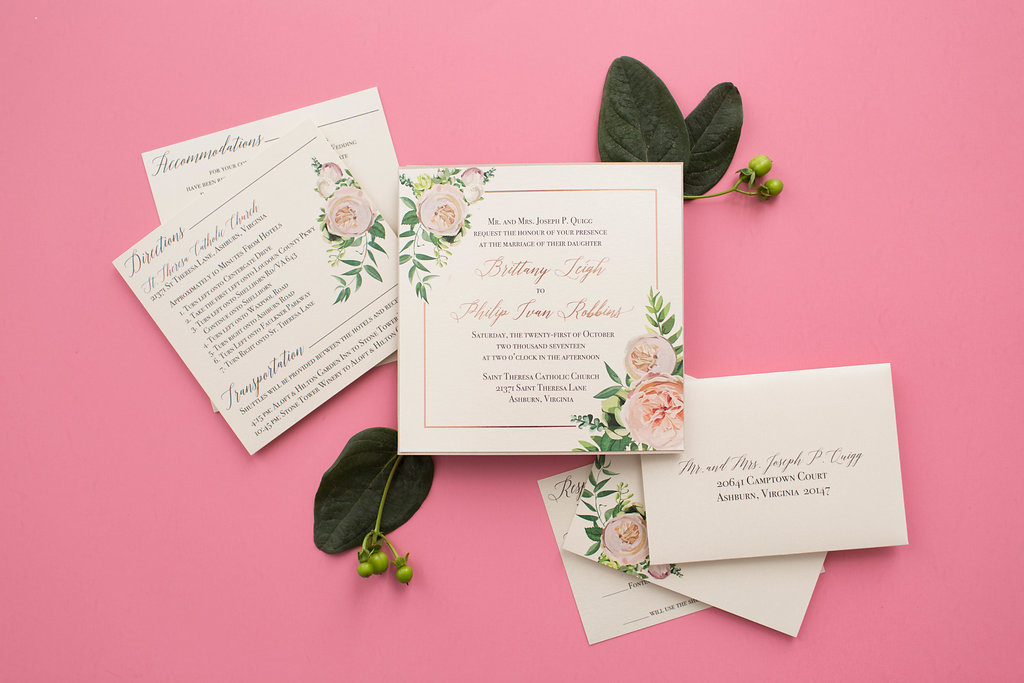 Brittany & Philip's Custom Pocketfold Wedding Invitations