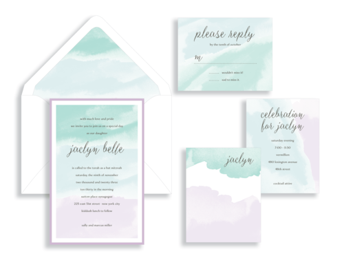 Jaclyn bat mitzvah invitation available in northern Virginia from Staccato