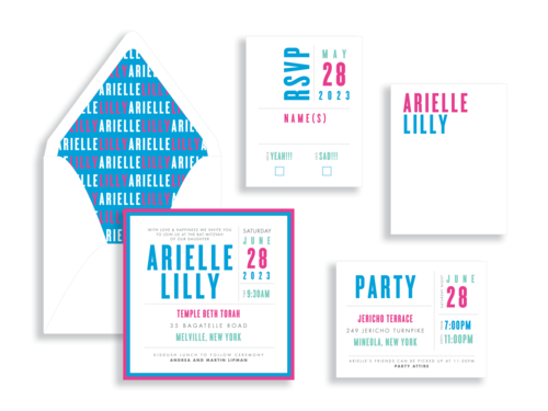 Arielle bat mitzvah invitation available in northern Virginia from Staccato