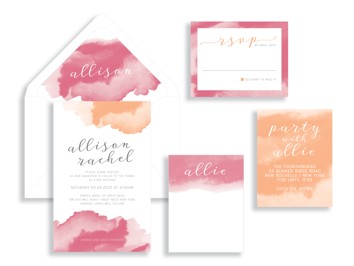 Allison bat mitzvah invitation in the Washington DC Metro area from Staccato.  Customize colors and layers!