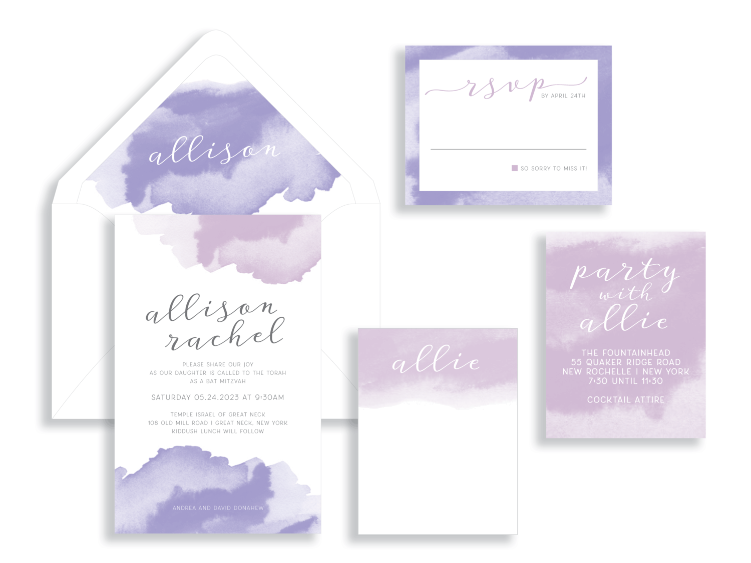 Bat Mitzvah invitation suite in watercolor wash shades of purple and rose.