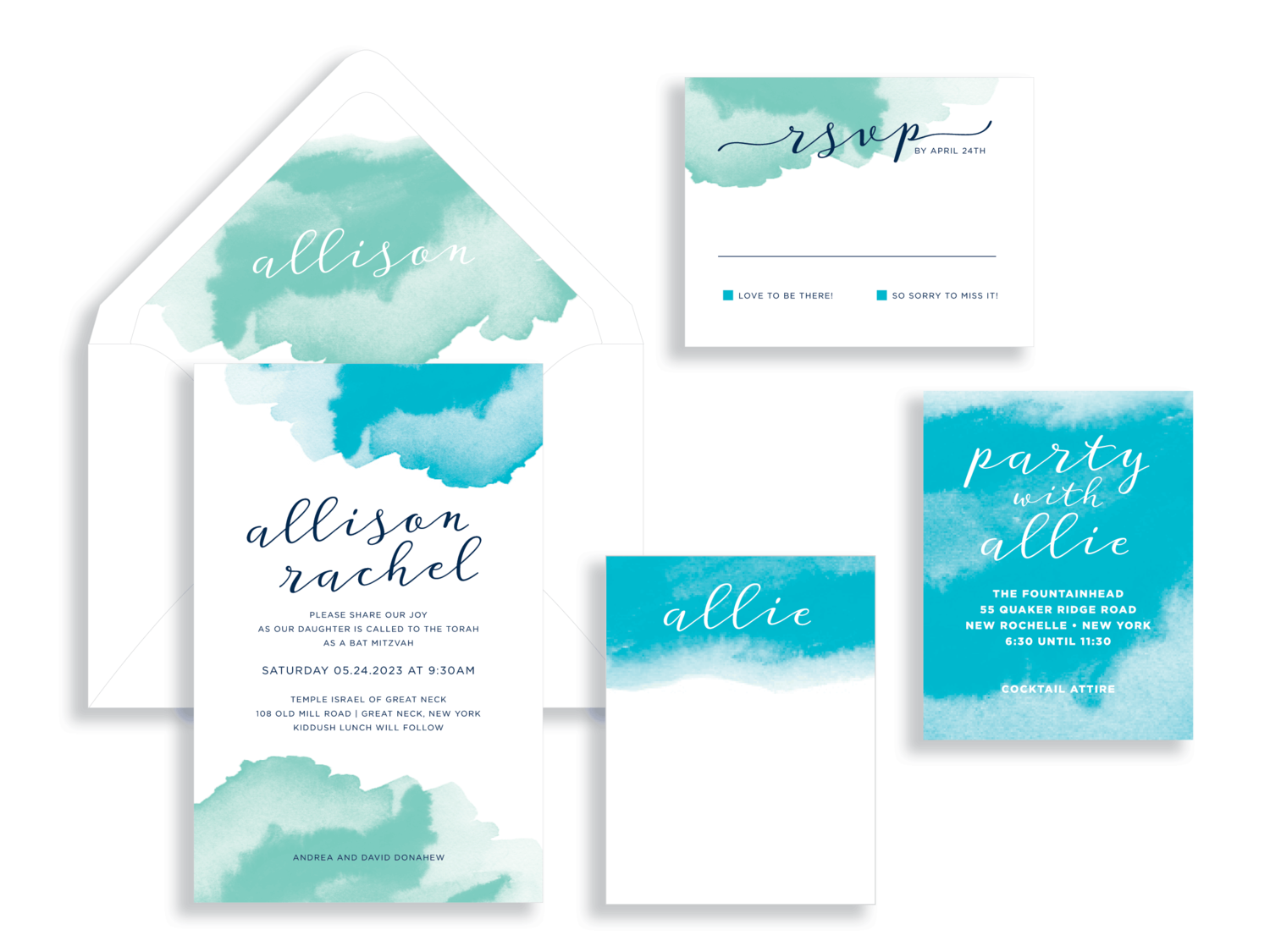 Allison turquoise and green watercolor bat mitzvah invitation in Fairfax Virginia from Staccato with personalized service, great selection!