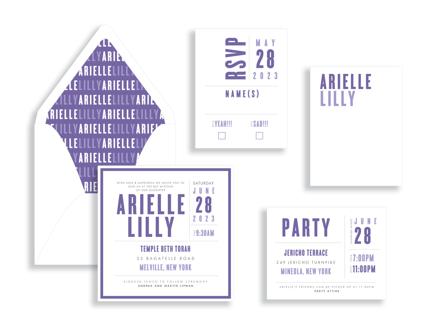 Arielle purple and white layered bat mitzvah invitation in the Washington DC Metro area from Staccato.  Customize colors and layers!