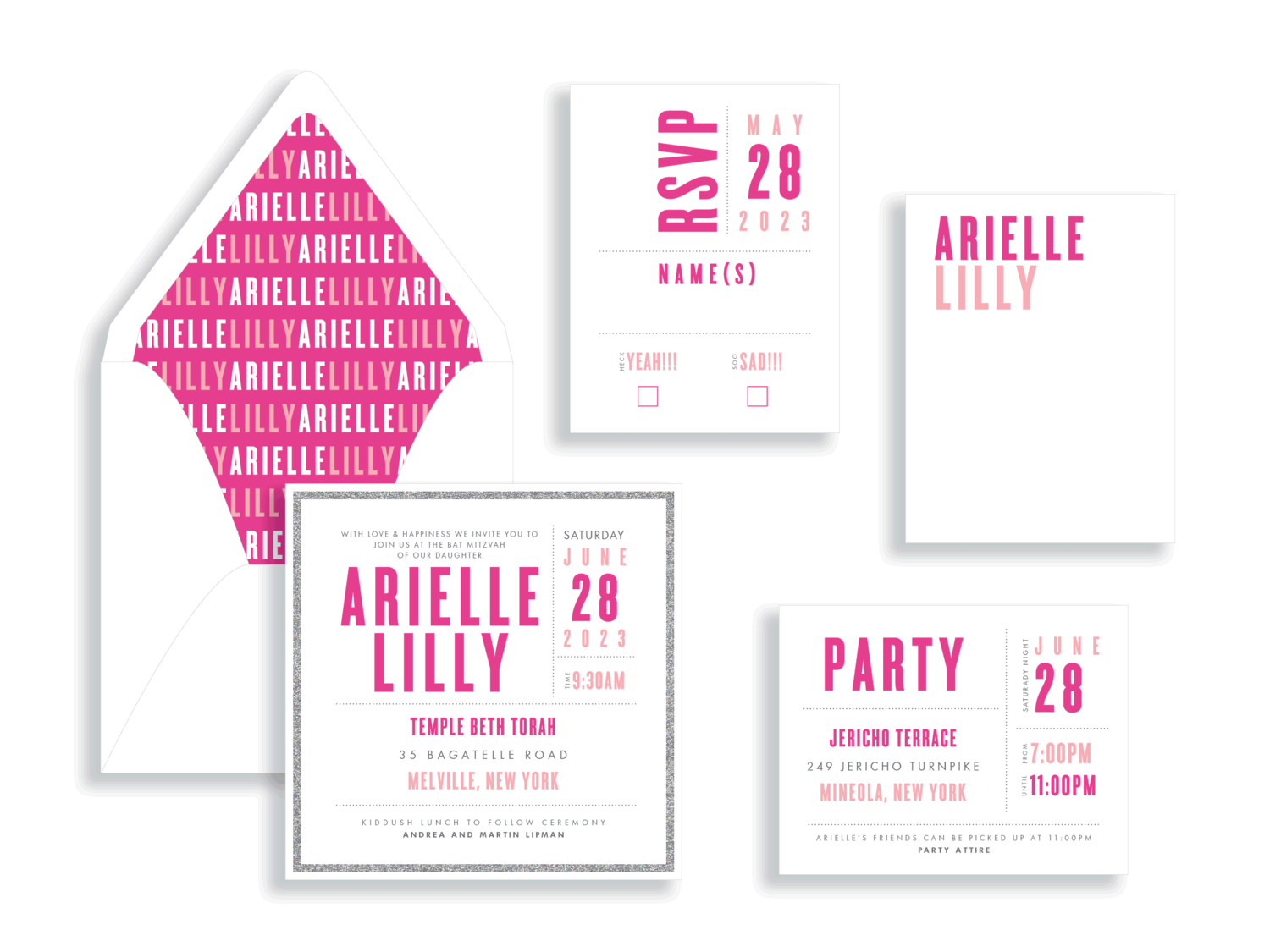 Arielle Lilly bat mitzvah invitation suite in magenta and pink.  Bat Mitzvah invitations Northern Virginia Fairfax.