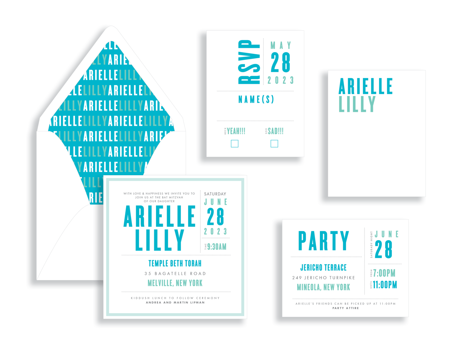 Arielle turquoise bat mitzvah invitation in Fairfax Virginia from Staccato with personalized service, great selection!