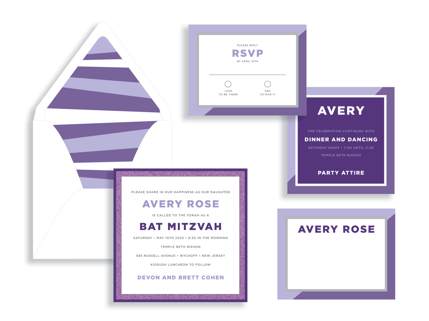 Avery purple glitter bat mitzvah invitation in Fairfax Virginia from Staccato with personalized service, great selection!