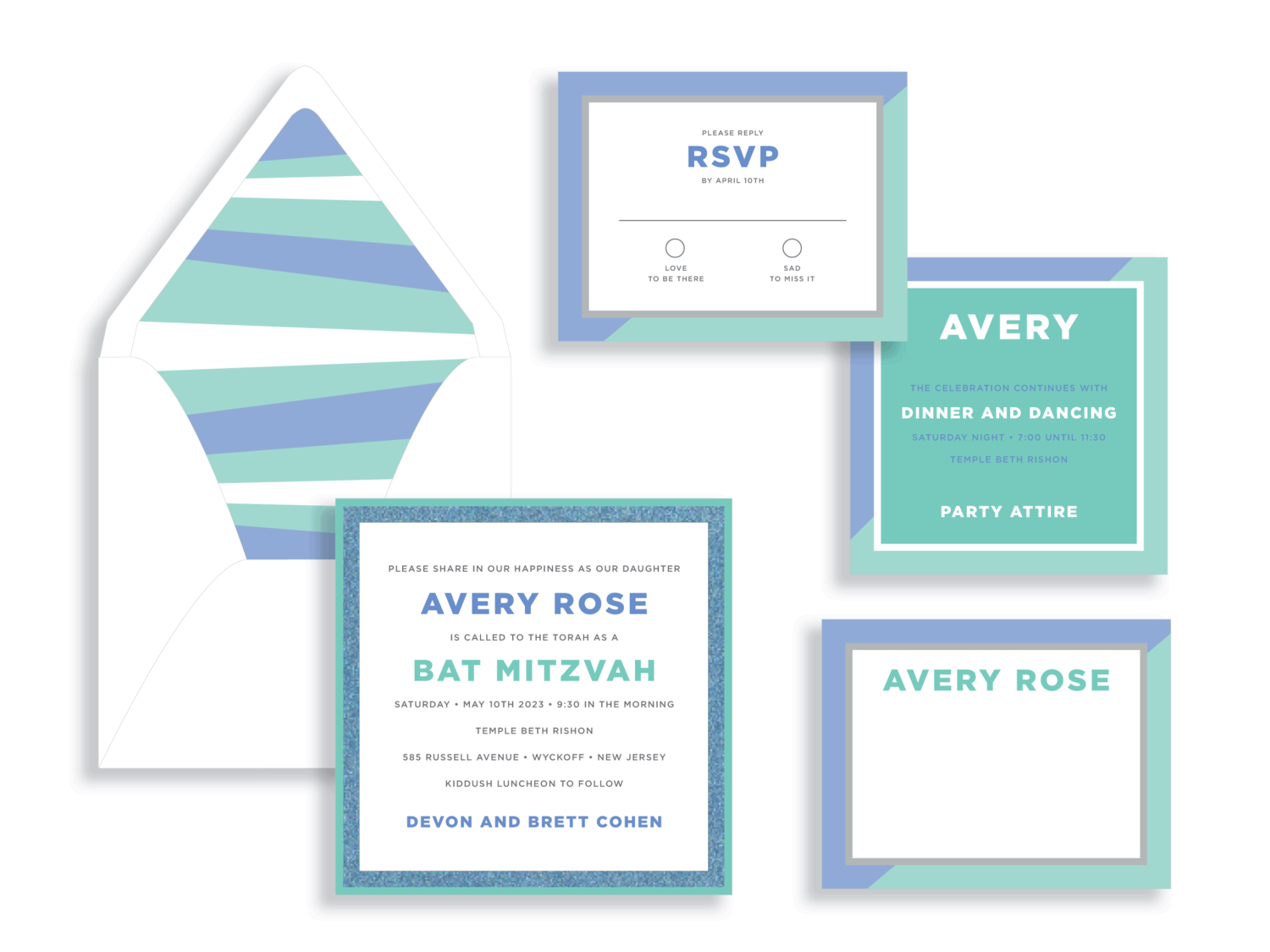 Avery Rose bat mitzva invitation in blue and mint.