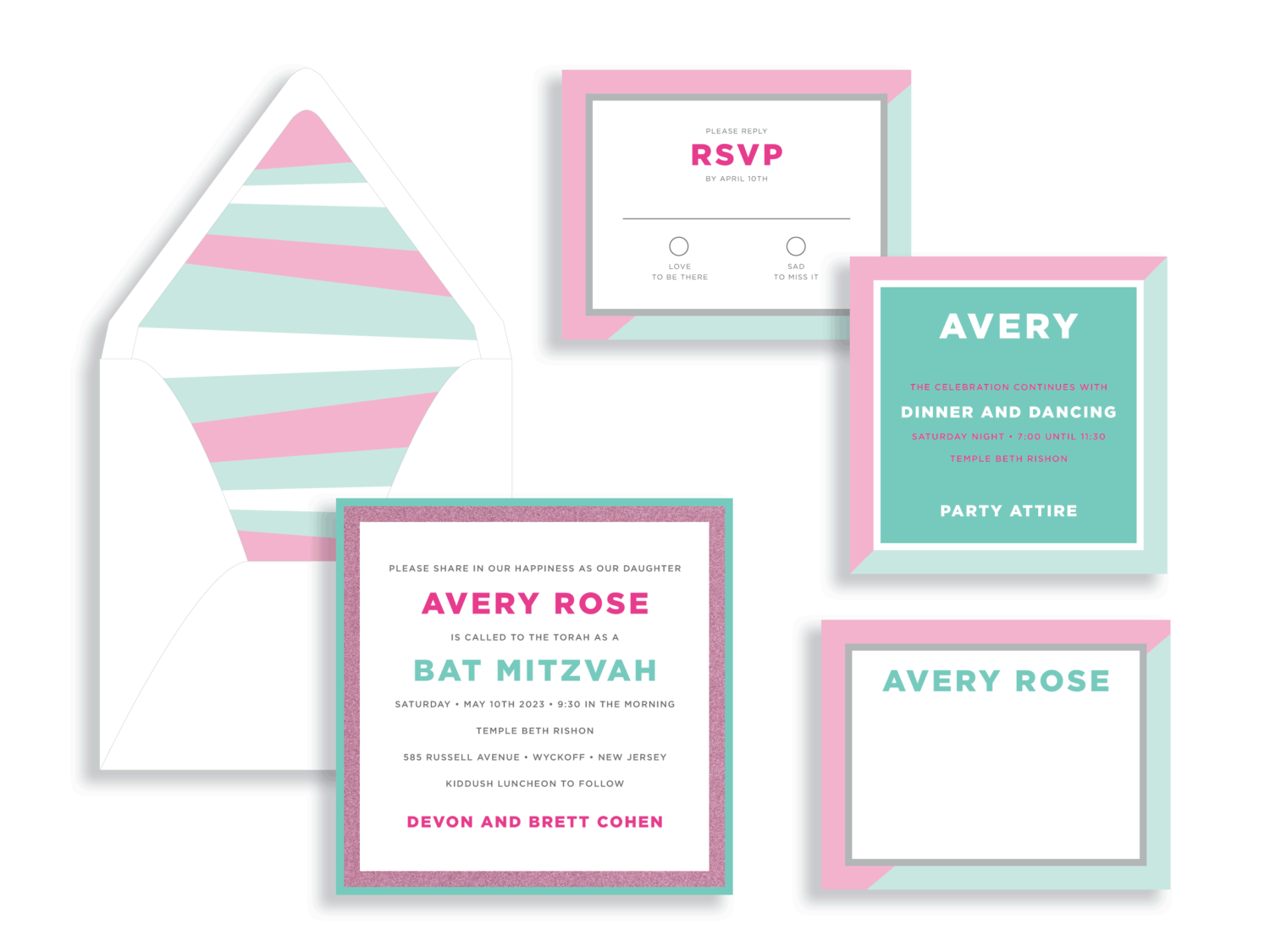 Avery mint and pink glitter bat mitzvah invitation in the Washington DC Metro area from Staccato.  Customize colors and layers!