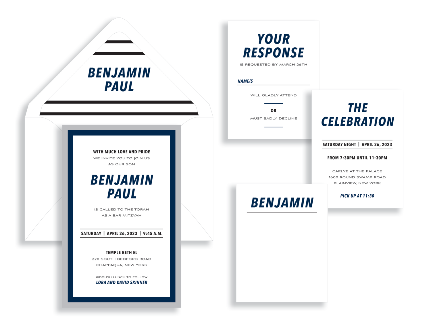 Benjamin bar mitzvah invitation available in Fairfax, VA from Staccato
