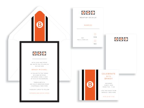 Bar Mitzvah invitation available in Northern Virginia from Staccato. Brady suite in orange and black.