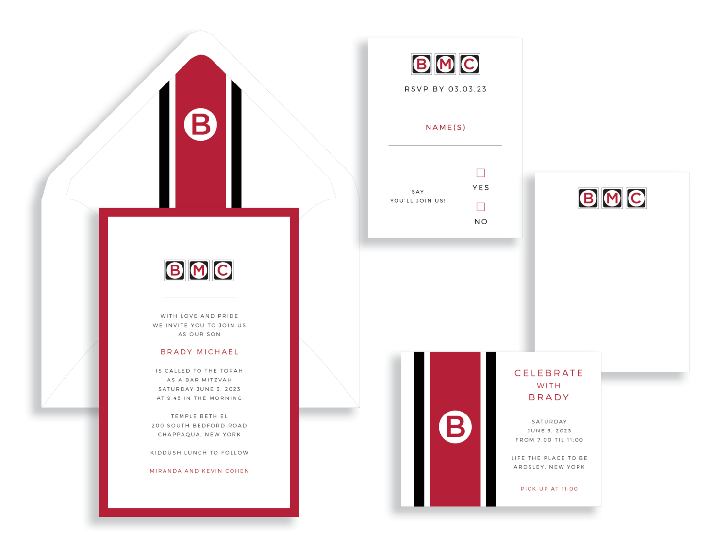 Brady bar mitzvah invitation available in the Washington DC Metro area from Staccato.